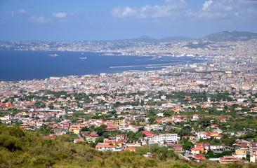 widok z Wezuwiusza na zatokę neapolitańską, Włochy