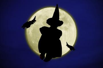 silueta de bruja a la luz de la luna