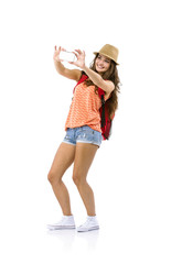 Woman tourist taking selfie