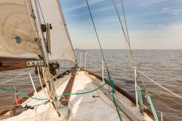 Sailing at Rio de la Plata River, Buenos Aires City. Argentina.
