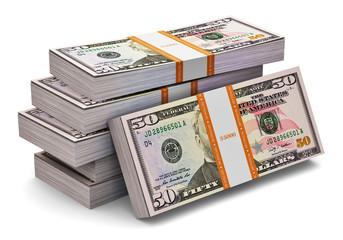 Stacks of 50 dollars banknotes