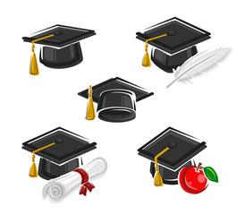 Graduation cap set. Vector