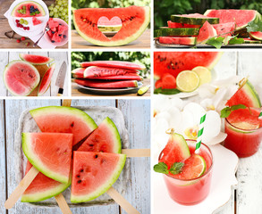 Collage of sweet watermelon