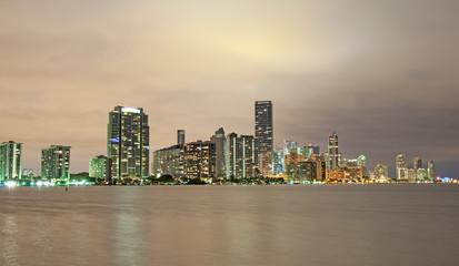 Garden Poster Abu Dhabi Skyline of Miami at night. Florida, USA