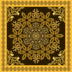 ornate floral bandanna on a brown  background with yellow border