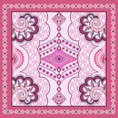 ornate floral bandanna on a light  background with  bright pink
