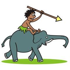 Elephant and hunter