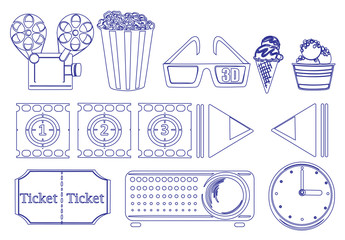 Doodle design of the things for movie marathon