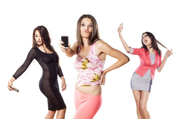 collage - group of three young women making a selfies