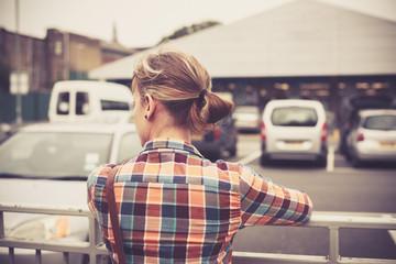 Woman at parking lot