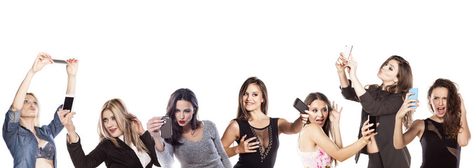 collage - group of young women making a selfies