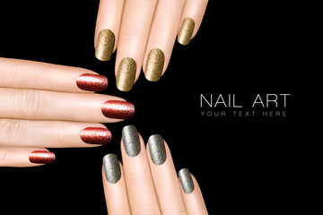 Nail Art Trend. Luxury Glitter Nail Polish. Nail Stickers