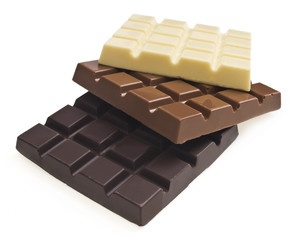 Dark, milk and white chocolate