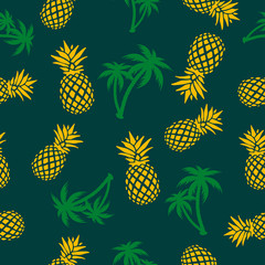 Pineapples and Palms Seamless Pattern