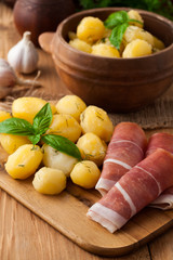 Boiled potatoes with meat