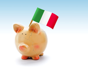 Piggy bank with cracks and national flag of Italy