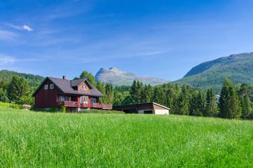 Garden Poster Scandinavia Typical Norwegian village house under the mountains