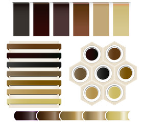 Set of coffee vector ribbons