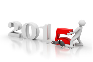 3d render of Happy new year 2015.
