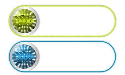 two vector buttons with grid and arrow