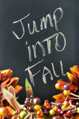 Fall themed border with chalkboard