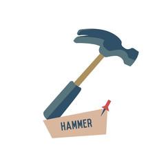 Hammer symbol on white background,Retro colour concept