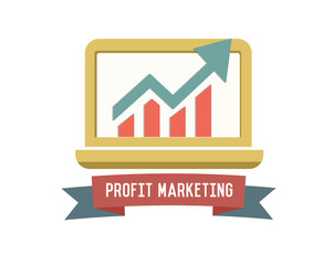 Profit on computer symbol on white background,Retro colour