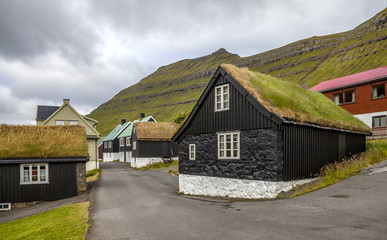 Turf house village Faroe Island, North Atlantic