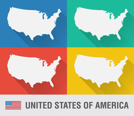 Wall Mural - USA world map in flat style with 4 colors.