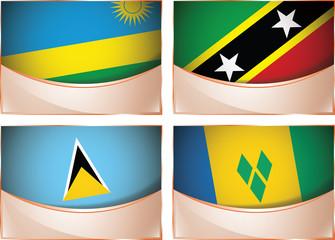 Flags illustration, Rwanda, St. Kitts, St. Lucia, St. Vincent