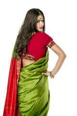 Young pretty woman in indian red dress