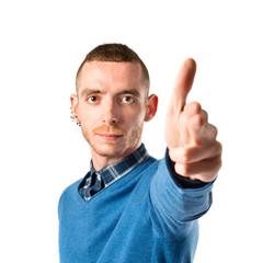 Man making gun gesture over white background