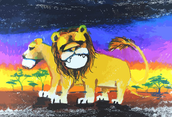 lion drawing painting with colorful  background
