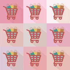 Shopping cart flat icons design,clean vector