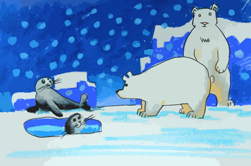 polar bears and seals on ice painting background