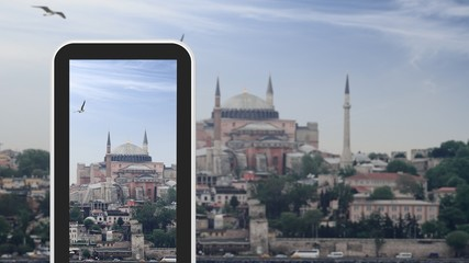 Tablet, smartphone taking picture of Hagia Sophia