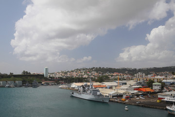 Bay with warship. Fort-de-France, Martinique