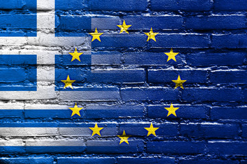 Greece and European Union Flag painted on brick wall