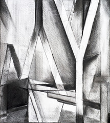 a charcoal sketch for an abstract painting
