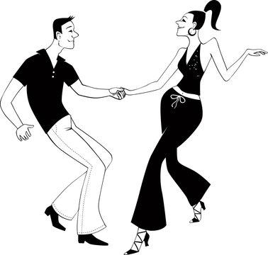 West Coast Swing dancers line art