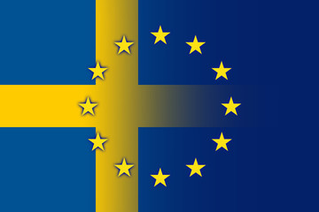 Sweden and European Union Flag