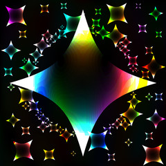 In de dag Draw Many colorful stars, unusual dark abstract vector background
