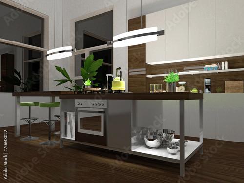Weiße Küche Mit Edelstahl Und Holzelementen