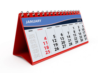 2015 January Calendar - isolated