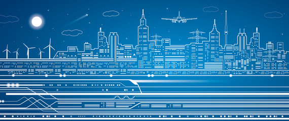 Train on the background of the light city, airplane fly