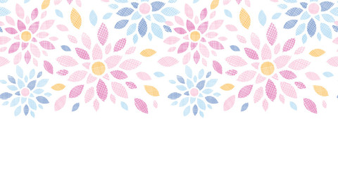 Abstract textile colorful flowers horizontal seamless pattern