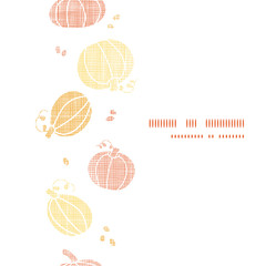 Vector thanksgiving pumpkins textile vertical border seamless