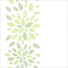 Fabric textured abstract leaves vertical seamless pattern