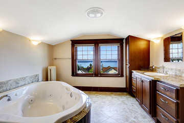 Luxury bathroom with bay view