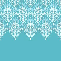 Light blue swirls damask horizontal seamless pattern background